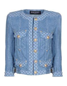 denim jacket by Balmain featured at www.thefanzynet.com