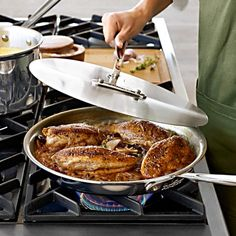 All-Clad d5 Stainless-Steel Chef's Skillet with Universal Lid #williamssonoma | $179.95 | 275.00 retail