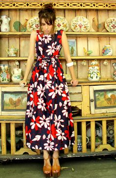 Vtg 60s Red White  Blue Floral MAXI Sun HAWAIIN by TatiTatiVintage, $124.00   Click to shop! https://www.etsy.com/shop/TatianaAndrade0