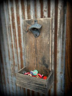 Beer Bottle Opener and Cap Catcher - Chad made one of these at the shop for our garage :)
