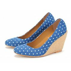 Taramay Vintage Polka-Dot Wedge Pumps