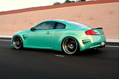 Infiniti G35 Coupe. Beautiful & beathtaking, such a pretty color blue, the one I saw was silver.