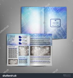 Business brochure design template with bright blurred abstract blue background with sparkle. Vector flyer layout, cover, poster design.