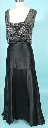 Gown (front), Museum Deaccession: ca. 1930's, Black Silk Charmeuse Bias Cut with Beaded Net Bodice.