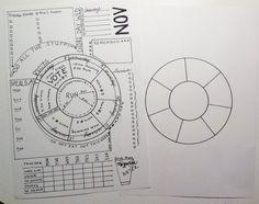 Unique Wheel Calendar for Bujo Printable by BlacklineMasters, Circular Calendar Template, Radial Calendar, 7 day, 12 month, 30/31/28 Days