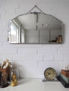 Vintage Large Bevelled Edge Wall Mirror Art Deco Bevel Edge Mirror Chrome Detail by uulipolli on Etsy https://www.etsy.com/listing/198876835/vintage-large-bevelled-edge-wall-mirror