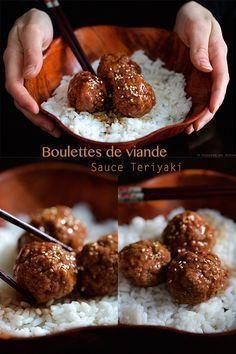 Meatballs and homemade teriyaki sauce - - Sauce Teriyaki, Homemade Teriyaki Sauce, Meat Recipes, Asian Recipes, Cooking Recipes, Comida Armenia, Tapas, Food Porn, Salty Foods