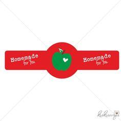 10St - 10x3cm Aufkleber Verschluss Apfel