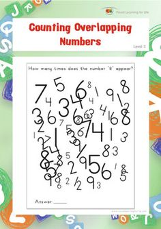 "In the ""Counting Overlapping Numbers"" worksheets, the student must count the total number of the specific number that is specified in the instruction.  The student must attend to one letter at a time within the busy field of all the surrounding and overlapping letters.  Available at www.visuallearningforlife.com on the Visual Perceptual Skills Builder Level 2 CD."