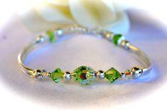 Swarovski Crystal Peridot Bangle by OurGardenofbBeaden on Etsy, $13.00