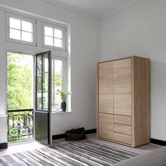 Ethnicraft Oak Shadow Dresser - 3 Opening Doors/2 Drawers