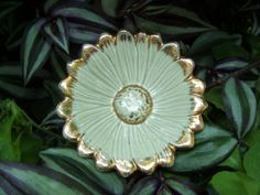 vintage pottery flower dish in green and gold by lookonmytreasures, $8.50