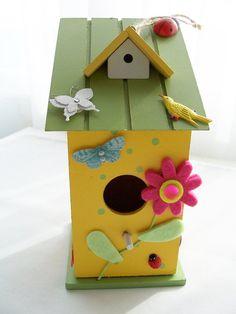 Wooden decorative birdhouse  by SparkleandComfort on Etsy