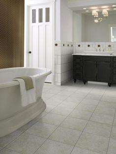 White Tile Bathroom Floor
