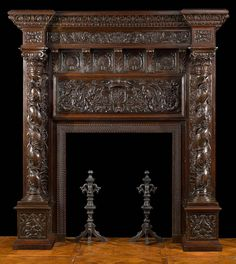 A Tall Antique Italian Renaissance Oak Fireplace Mantel