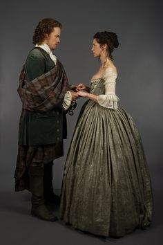 Claire and Jamie in their wedding wardrobe.