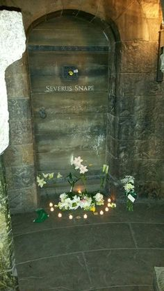 A friend took this photo at the Harry Potter area of Universal the day Rickman died. There are many lillies and one sock later by Snape's door.