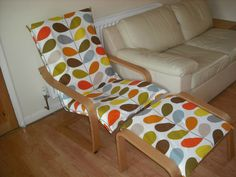 poang chair cover diy handmade chair cover using bedding various fabric poang chair cushion diy Ikea Poang Chair, Kitchen Chair Cushions, Hammock Swing Chair, Swinging Chair, Vintage Furniture, Diy Furniture, Furniture Design, Orla Kiely Bedding