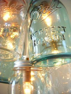 lampara hecha con tarros de cristal_reciclar botes de cristal