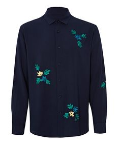 Bruta Navy Floral Embroidered Shirt | Menswear | Liberty.co.uk