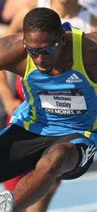 Former Jackson State University track and field standout Michael Tinsley won silver in the Olympic 400-meter hurdles Monday.     Tinsley finished in 47.91 seconds. He was less than a second behind Felix Sanchez of the Dominican Republic who won his second gold in the event in 47.63 seconds.     Javier Culson got the bronze in 48.10 for Puerto Rico's U.S. Olympic team after winning the 400-meter hurdles at the U.S. track trials in 48.33 seconds.