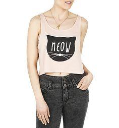 Girls Meow Crop Graphic Tank   $7  Blnts.com