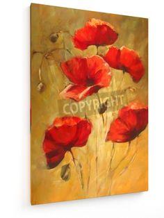 Mohnblumen - 40x60cm - Textil-Leinwandbild auf Keilrahmen - weewado - Wandbilder - Kunst, Gemälde, Fotografie - Blumen