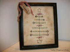 Primitive Ole Christmas Tree Framed Stitchery by valleyprimitives