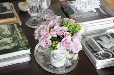 Coffe table styling +flowers