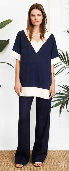 Evoke easy elegance in a silk tunic and flowy pants | Tory Burch Spring 2014