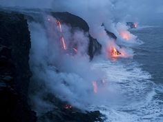 Hawaii Volcanoes National Park, Hawaii - lava flowing into the Pacific