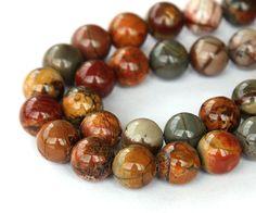 Natural Red Creek Jasper Beads, 10mm Round - 15 inch Strand 8GR-JA011-10