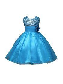 فستان كامل مع الترتر بلا أكمام نمط زهرة للفتيات