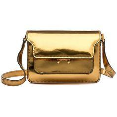 Marni Shoulder Bag ($1,920) ❤ liked on Polyvore featuring bags, handbags, shoulder bags, gold sand, shoulder strap purses, marni handbag, mini purse, marni shoulder bag and mini handbags