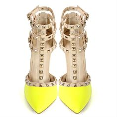Yellow Pointed Toe T-Strap Pumps Pyramid Studs ($65) ❤ liked on Polyvore featuring shoes, pumps, heels, pointy-toe pumps, yellow pumps, pointed-toe pumps, prom pumps and yellow pointy toe pumps