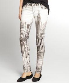 ivory ny skyline print stretch denim 'My BFF' legging jeans…