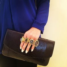 Armenta Box Clutch with 4 Rings.
