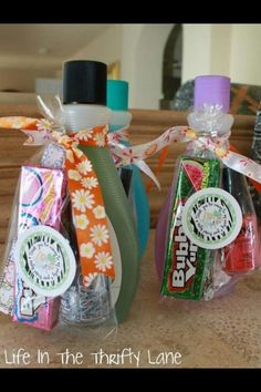 Great girls birthday party treat bags.  Nail polish remover (need mini one), fingernail polish and bubblegum. maybe a lip gloss or lip balm..