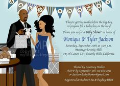 Baby Shower Invitation African American Couple, Blue & Brown