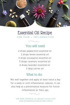 , 6 Powerful Essential Oils To Help Ease Pain + Inflammation — Pain & Health Solutions , One great option that may help relieve inflammation is essential oils. Essential Oils For Inflammation, Essential Oils For Pain, Essential Oil Diffuser Blends, Essential Oil Uses, Doterra Essential Oils, Young Living Essential Oils, Marker, Easential Oils, Eucalyptus Essential Oil