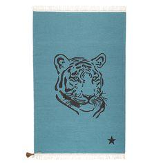 Varanassi Teppich Kinderteppich Tiger Petrol Wolle 100x150 cm