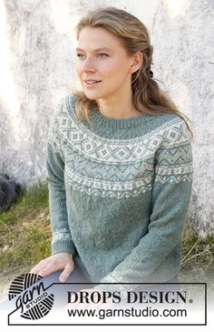 Knitting Charts, Sweater Knitting Patterns, Knitting Designs, Free Knitting, Knitting Projects, Nordic Pullover, Drops Design, Icelandic Sweaters, Big Knits