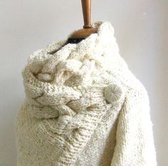 hand knit cardigan RIONA chunky coat cream sweater wool and silk ivory from ovejanegra on #etsy