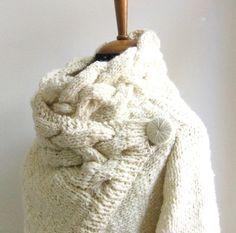 hand knit cardigan RIONA size Small chunky coat par ovejanegra
