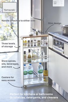 TOWER Rolling Slim Storage Cart With Handle TOWER Rolling Slim Storage Cart With Handle Yamazaki Home yamazakihome Kitchen Keep this three-tiered slim storage cart stocked with oils nbsp hellip Kitchen Hacks, Kitchen Storage, Kitchen Decor, Kitchen Design, Organizing Ideas For Kitchen, Apartment Kitchen Organization, Apartment Hacks, 1st Apartment, Storage Cart