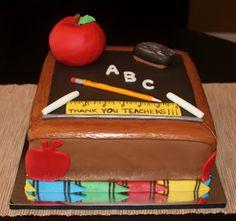Creative Cakes by Lynn: Teacher's Cake Teacher Cakes, Teachers Week, School Cake, Creative Cakes, Cupcake Cakes, Cupcakes, Cake Recipes, Cake Decorating, Wedding Cakes