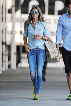 Olivia Palermo. The classic Canadian tuxedo looks best when two different hues are combined. We also love the addition of neon loafers for a colorful pop.