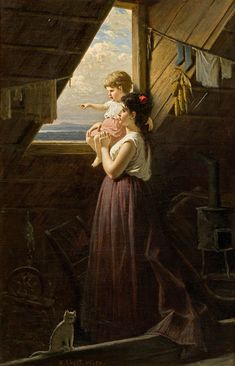 Mother And Child by the Window (Anton Ebert)
