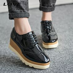 2016 Fashion Trick Bottom Women Oxfords Square Toe Patent Leather Platform Ladies Shoes Lace up Brogue Shoes Women Creeper PX149