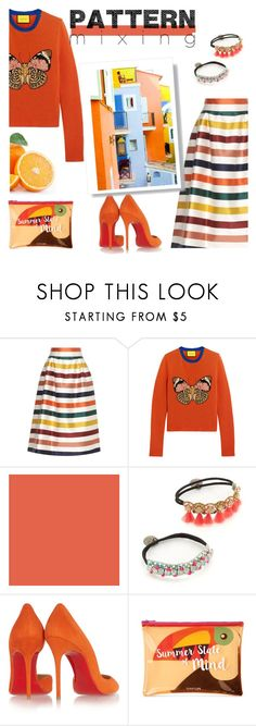 """Pattern mixing"" by lianafourmouzi ❤ liked on Polyvore featuring Carolina Herrera, Gucci, Deepa Gurnani, Christian Louboutin, Sunnylife and Saint Tropez"